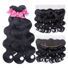дешево!  Brazilian Body Wave 3 Bundles With Frontal Human Hair Bundles With Frontal Bundles With 13x4 Lace Frontal