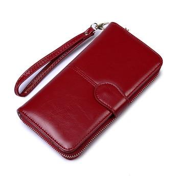 Oil Wax Women's Money Bag Hasp Money Clips Purse Wallets Clips Purses Zipper Clip Buckle Wallets Female