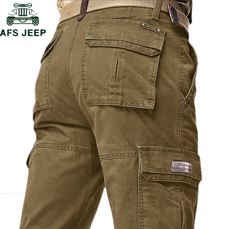 AFS JEEP Brand Autumn Winter Cargo Pants Men High Quality Warm Long Military Pants Plus Size pantalon hombre tactical Trousers(China)