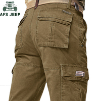 AFS JEEP Brand Autumn Winter Cargo Pants Men High Quality Warm Long Military Pants Plus Size pantalon hombre tactical Trousers