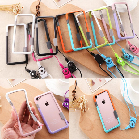 huge discount 1cbb5 30438 US $4.8  For iPhone 7 Plus / For iphone 8 Plus Soft TPU silicone Bumper  Case Frame Cover Phone Case With Neck Strap Rope Chain-in Phone Bumper from  ...