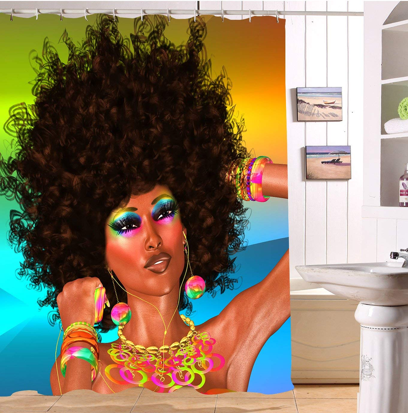 Afro Art African Woman Shower Curtain Polyester Fabric Black Bathroom Decor Mildew Resistant Waterproof Bath Curtains Set In From Home