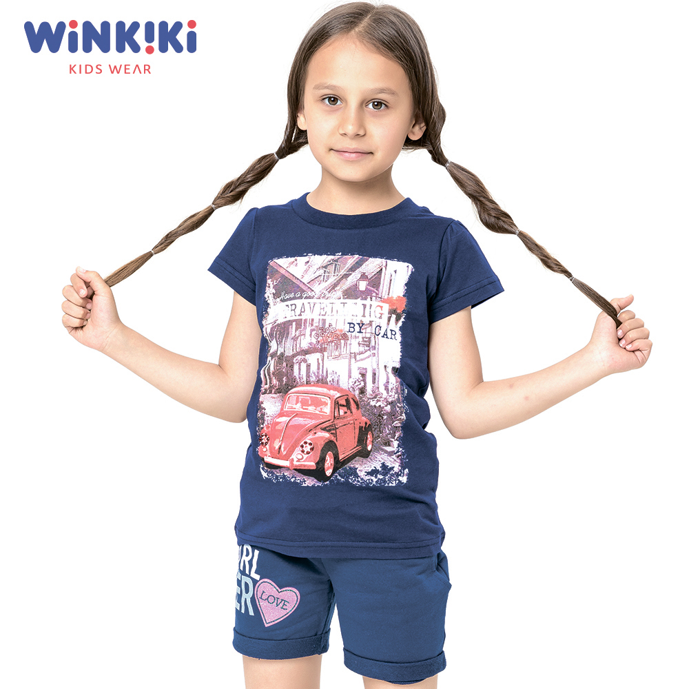 T-Shirts WINKIKI WJG91491 T-shirt kids children clothing Cotton Blue Girls Casual shein kiddie white cartoon print casual t shirt toddler girl tops 2019 spring fashion short sleeve girls shirts kids tee
