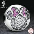 Plata de ley 925 Dulce Encantador Lindo Mickey Minnie Pavimenta Charm Clip Fit Pandora Pulsera y el Collar de Accesorios de La Joyería S191