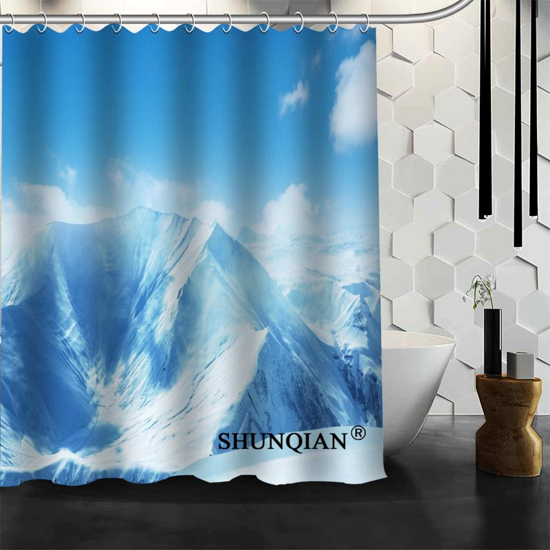Best Nice Custom Blue Sea Sky Clouds Shower Curtain Bath Waterproof Fabric Bathroom MORE SIZE A61 90 In Curtains From Home Garden