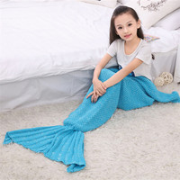 Spring Bedding Sofa Mermaid Blanket Wool Knitting Fish Style Mother With Daughter Little Tail Blankets Warm