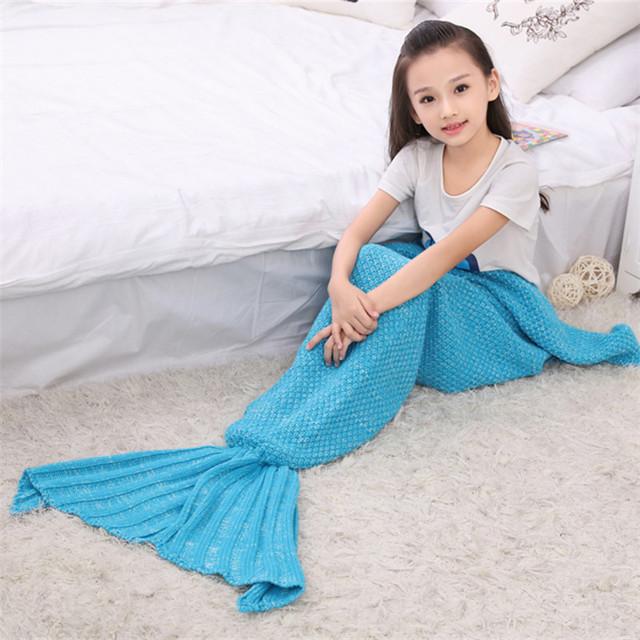 Primavera Sofá Cama Sereia Cobertor Cobertores de Lã De Tricô Estilo Mãe Com A Filha Pequena Cauda de Peixe de Dormir Quente Criança Crianças