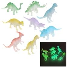 8 pcs Glow In The Dark Noctilucent Dinosaur Figure Toy Gift For Children Kids