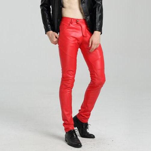 #2218 Motorrad Engen Faux Leder Hosen Für Männer Blau Weiß Schwarz Weiß Biker Pu Leder Hosen Joggers Dünne Leder Hosen BüGeln Nicht