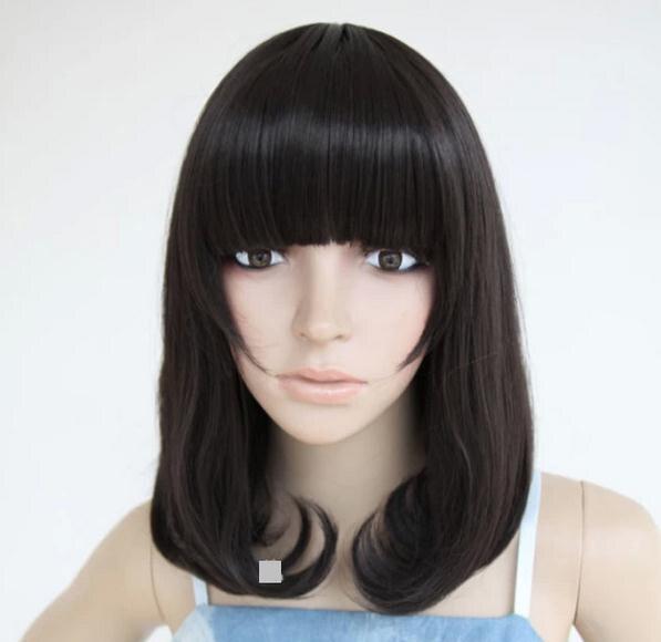 40cm Black Medium Length Wigs Bangs Cute Girl Haircut Black Middle