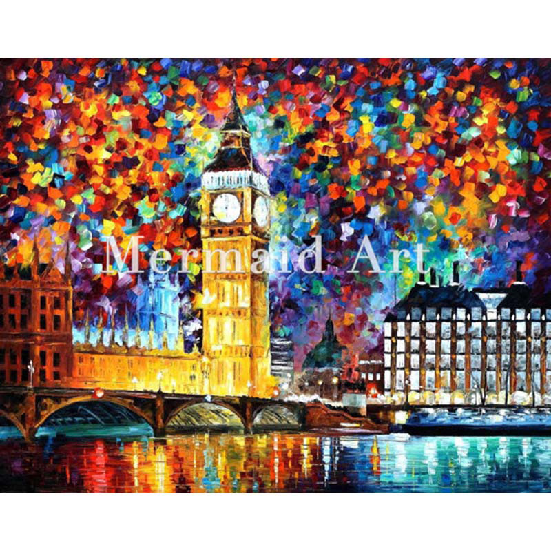 hand painted Palette font b knife b font thick Art Big Ben London Modern Artwork of