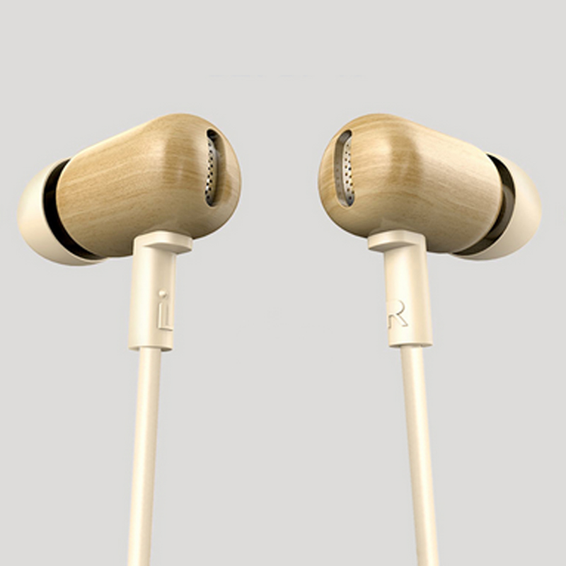 Universal In-ear Earphone for iPhone Sony HTC Android PC Wooden Headset Red Ebony Earbuds with mic for calling keeka mic 103 stylish universal 3 5mm jack wired in ear headset w microphone red blueish green