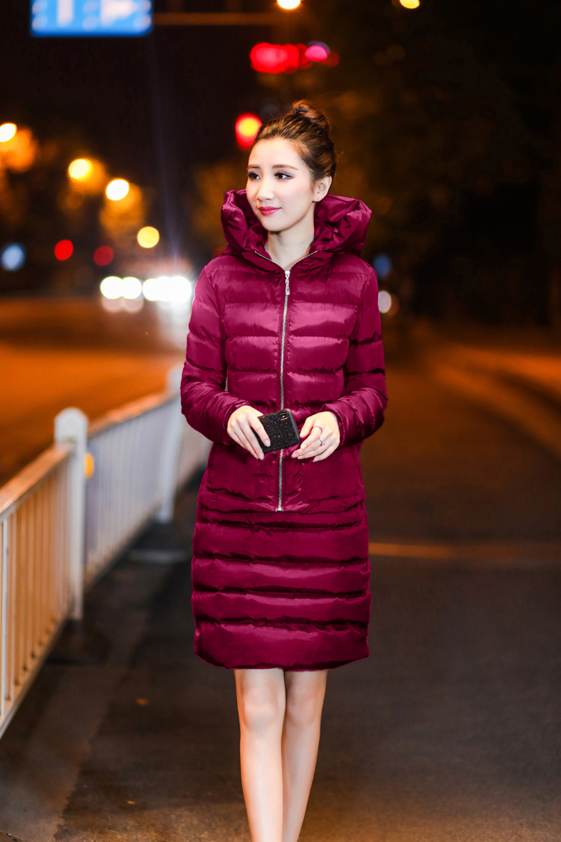 SexeMara Real Shot 2018 Winter New Down Cotton Suit Fashion Suit Female Small Fresh Warm Hooded Two-Piece Elegant Dress (19)