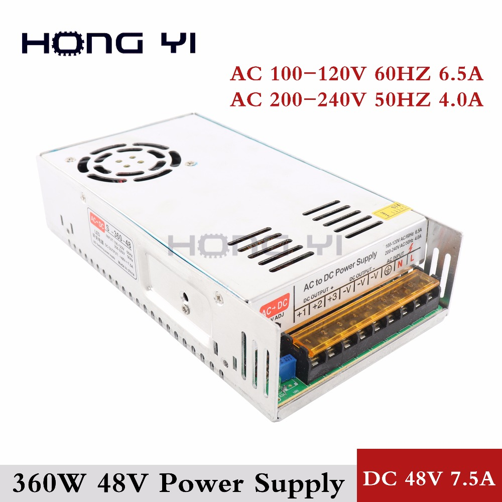 1PCS 48V 7.5A 360W Switching Power Supply Driver for CCTV camera LED Strip AC 100-240V Input to DC 48V LED Lighting Transformer 1pcs 3v 12a 60w switching power supply 3v 12a driver for led strip ac dc 100 240v input to dc3v s 60 3
