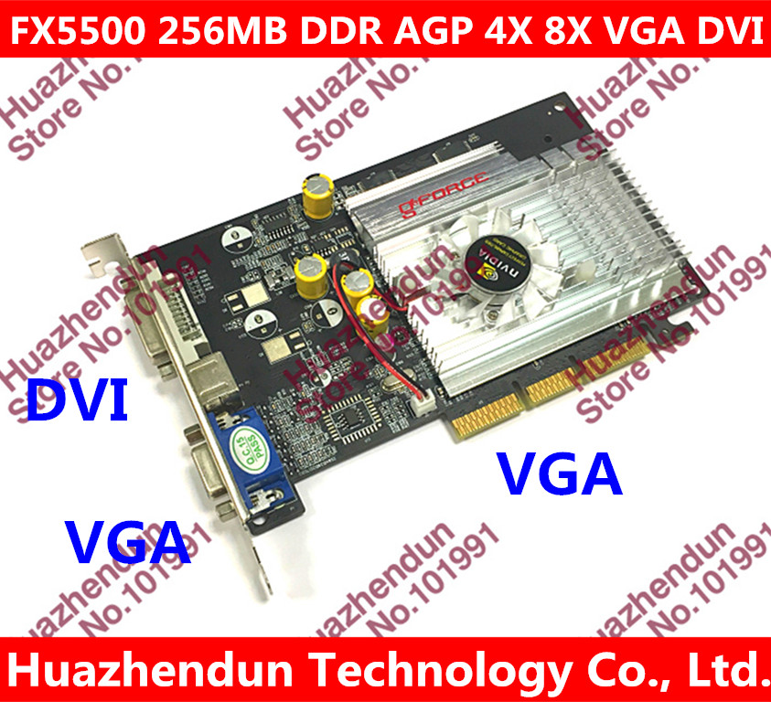 Free shipping via HK Post Direct from Factory  NEW GeForce FX5500 256MB DDR AGP 4X 8X VGA DVI Video Card AGP card graphic card