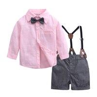 bf5ceea539060 Baby Boy Clothes New Born Baby Boy Gentleman Suit Long Sleeve Shirt With  Bow Tie Shorts. US  18.48 US  11.46. Bébé garçon vêtements nouveau né ...