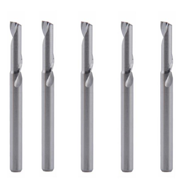 5 Pcs 3.175x12mm יחיד חליל כרסום cutters עבור אלומיניום CNC כלים מוצק קרביד, לוחות אלומיניום מרוכבים