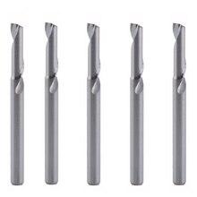 5 pces 3.175x12mm únicos cortadores de trituração da flauta para o carboneto contínuo de alumínio das ferramentas do cnc, painéis compostos de alumínio