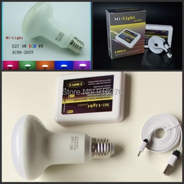 Milight AC85-265V 9W E27 Mushroom RGBW WIFI Bulbs Lights RGB+Cool White / Warm White dimmable PAR led lamp +1x Wifi Controller