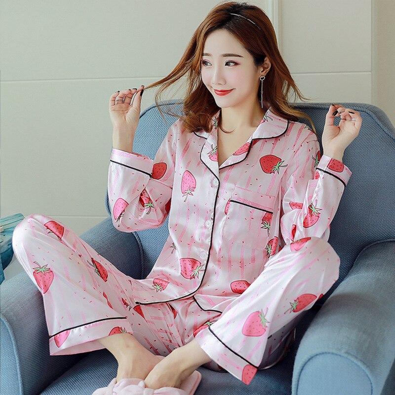 Women's Sleepwear Pajamas Faux Silk Satin Pyjamas Femme Strawberry Print Long Sleeves 2 Piece Sets Pijamas Women Autumn Homewear