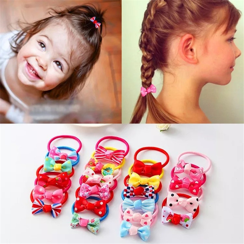 10Pcs/lot Fashion Cute Headband Flower Bow Children Pink Candy Color Hair Accessories Elastic Bands Baby Girl Gift Hairband baby girl headband cute bow tie princess hair accessories hairband children birthday christmas gift kid infant hair ribbon