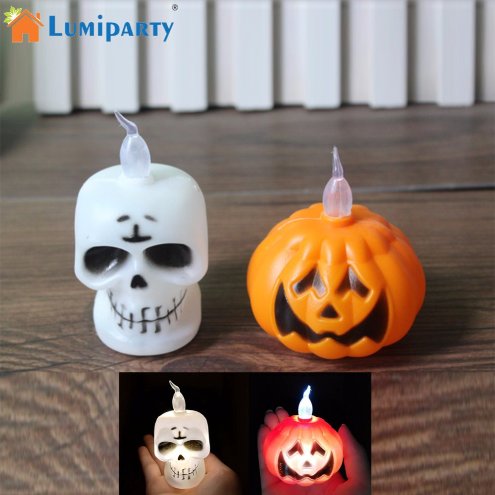 LumiParty 12 Pcs Creative Skeleton Pumpkin LED Candle Lamp Night Light Emitting Toy for Halloween Parties Decorations jk30