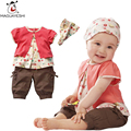 Summer Baby Girls Clothes Floral Print Top+Headband+Pants 3 Pcs Bebes Girls Clothing Sets Toddler Kids Outwear For Girls