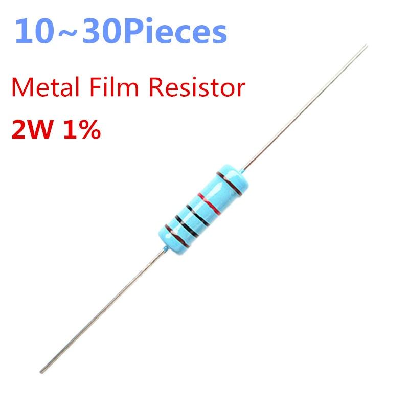 10~30pieces  1 Ohm 2W 1% Radial DIP Metal Film Axial Resistor 1ohm 2W Resistors