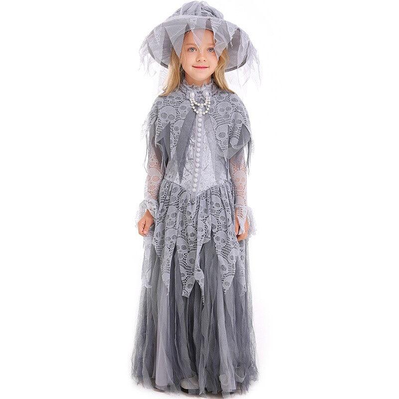 Kid Girls Halloween Ghost Corpse Bride Skull Print Costume Scary Tricking Zombie Clothing Horror Fancy Tutu Dress For Children