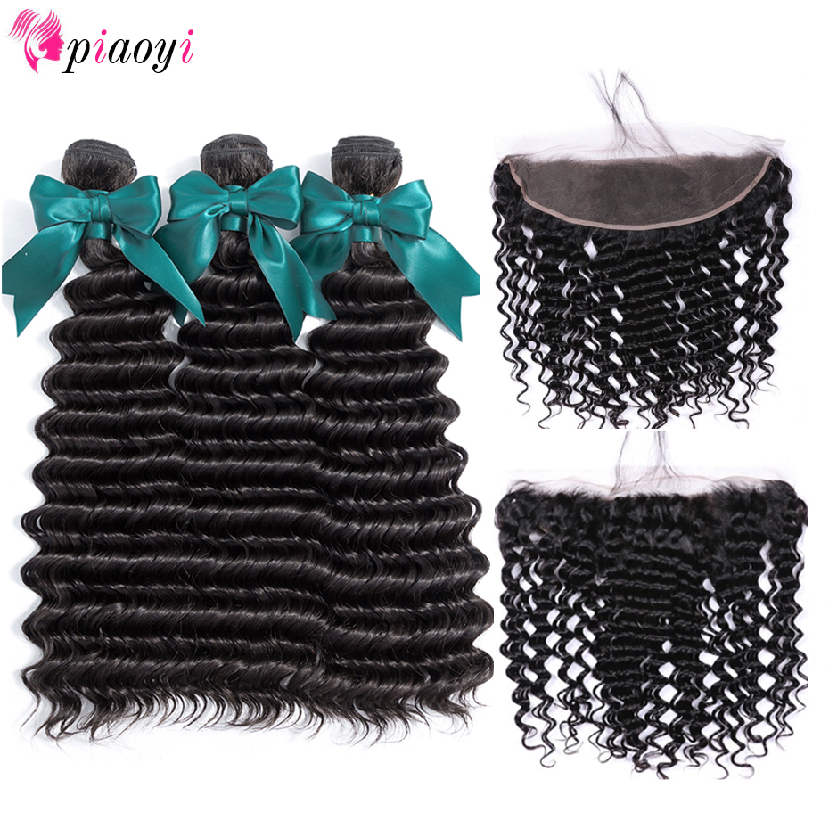 Malaysian Deep Wave Bundles With Frontal Closure 100 Human Hair Bundles With Closure 3 Bundles With