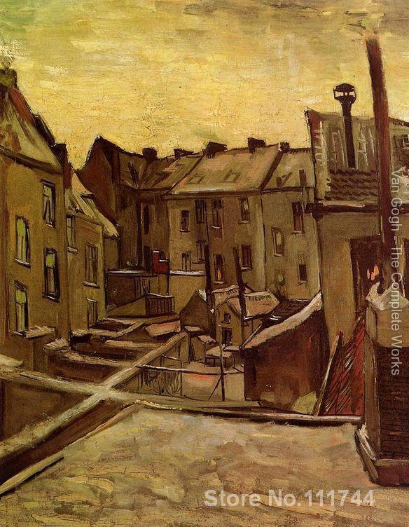oil reproduction Backyards Of Old Houses In Antwerp In The Snow by Vincent Van Gogh Canvas Painting Hand painted High quality