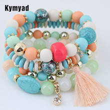 hot deal buy kymyad bohemian bracelets for women tassel charm bracelets & bangles candy color bijoux multilayer pulseira feminina bracelets