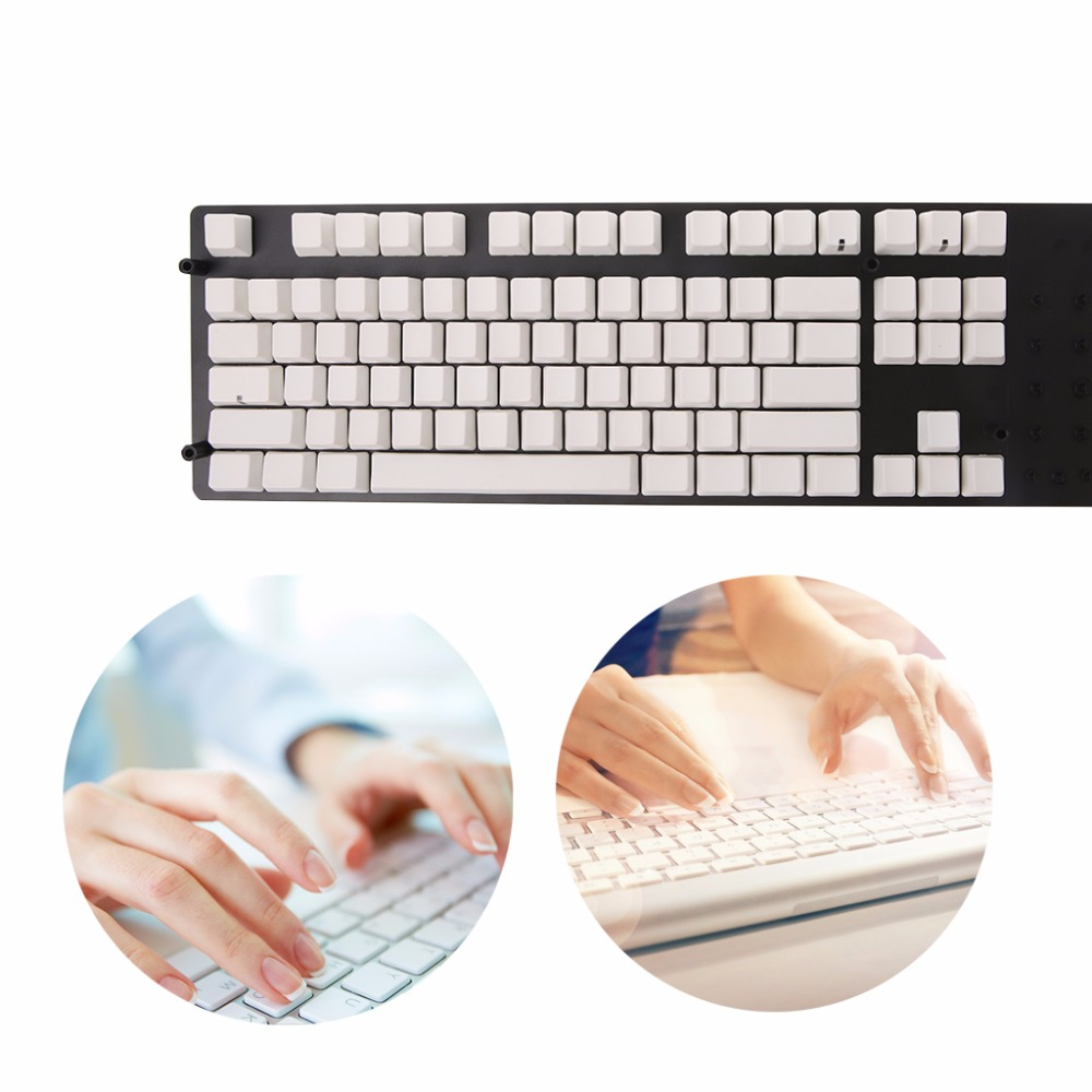 White 87Key Keyboard Keycap Universal PBT Keycaps Set Blank No Print DIY For Cherry MX