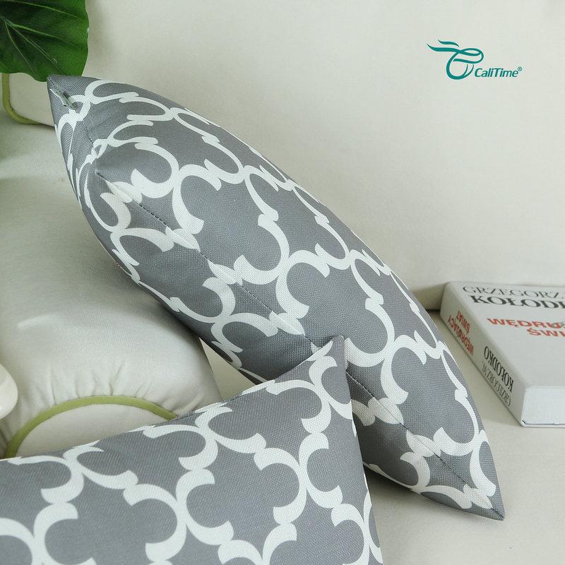 2PCS Rectangle CaliTime Gray Cushion Cover Pillows Shell Quatrefoil Accent Geometric Home Sofa Decor 12 X 20(30cm X 50cm)