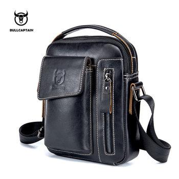 BULLCAPTAIN 2019 Genuine Leather Men Messenger Bag Casual Crossbody Bag Business Men's Handbag Bags for gift brand shoulder bag