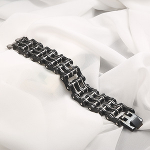 Image 2 - Motorcycle chain bracelet black mens titanium steel bicycle chain bracelet punk three layer stainless steel bicycle bracelet