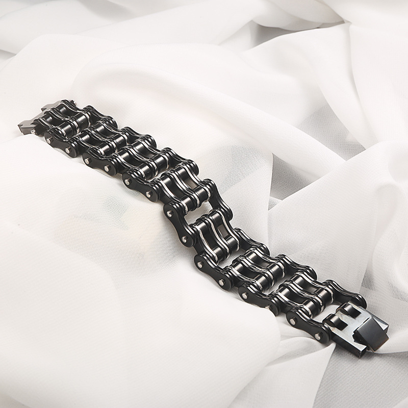 Image 2 - Punk Big Stainless Steel Bicycle Chain Purple Black Bracelets & Bangles Motorcycle Chain Bracelet Men Biker Jewelry Wholesale-in Chain & Link Bracelets from Jewelry & Accessories