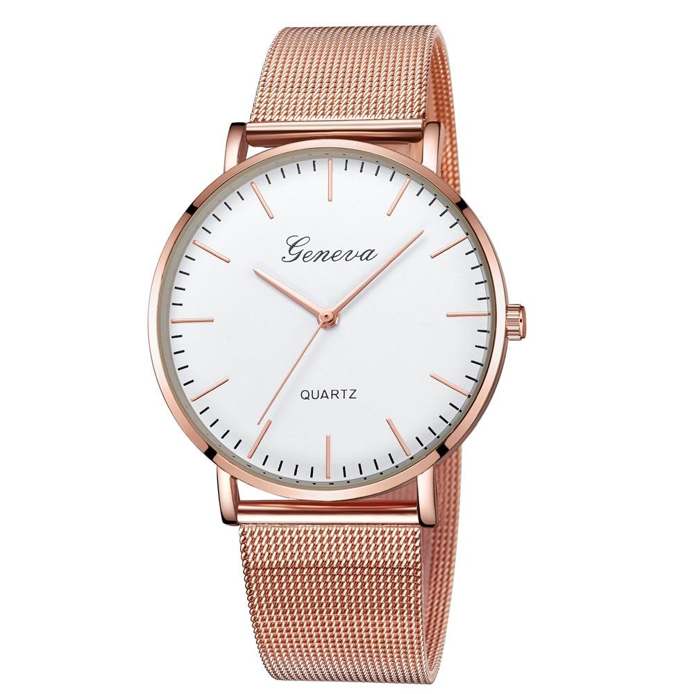 GENEVA Watches Womens 2018 New Brand Classic Quartz Stainless Steel Wrist Watch Bracelet Female Lady Watch Relogio Feminino A2