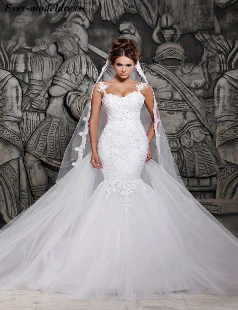 caf19a94eeb8 Sexy Illusion Mermaid African Wedding Dresses Spaghetti Appliques Beaded Bridal  Gowns Plus Size vestido de noiva
