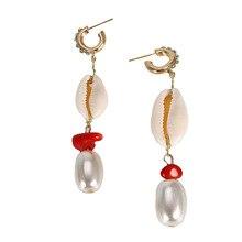 Korea New Design Pearl Matte Metal Geometric Drop Earring Plant Shell Long Earrings For Women Beach Boho Jewelry