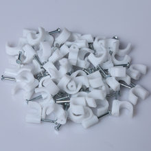 50-100PCS PE Plastic 4/5/6/7/8/9/10/12mm Circle Cable Clip C Shaped High Carbon Steel Nails Cable clips Wire Wall holder(China)