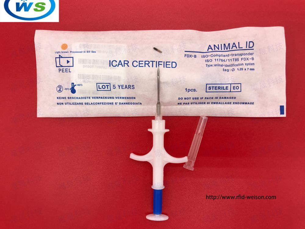 100pcs 1.25*7mm High quality RFID Pet Microchips EM4305 ISO11784/785 FDX-B Animals Identification Microchip Syringe
