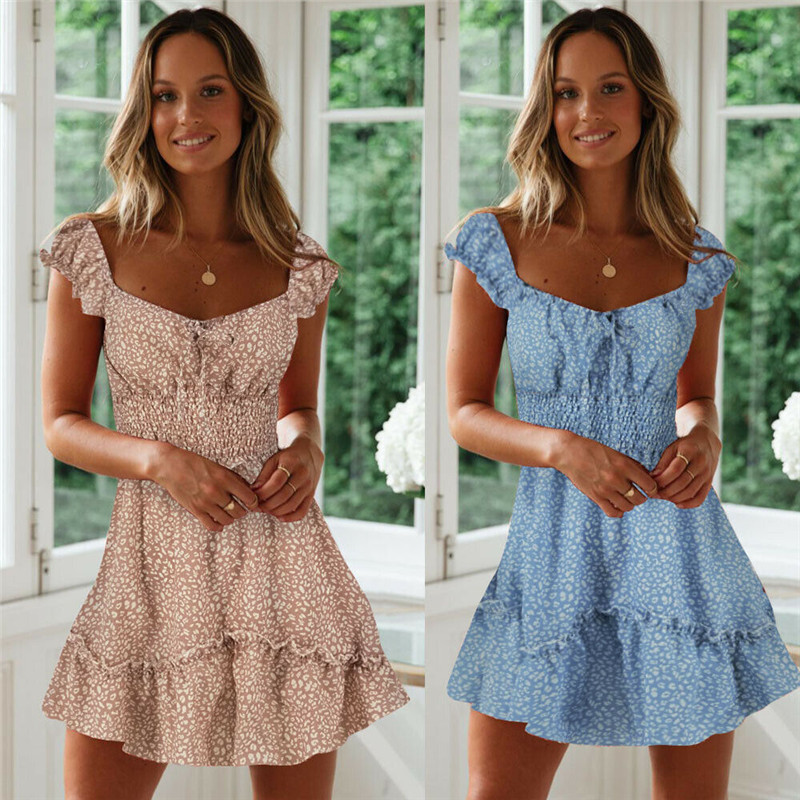 Casual Womens Summer Flowers Mini Dress Ladies Square Collar Fitted Waist Sundress Holiday Fit and Flare Ruffled Women Dress