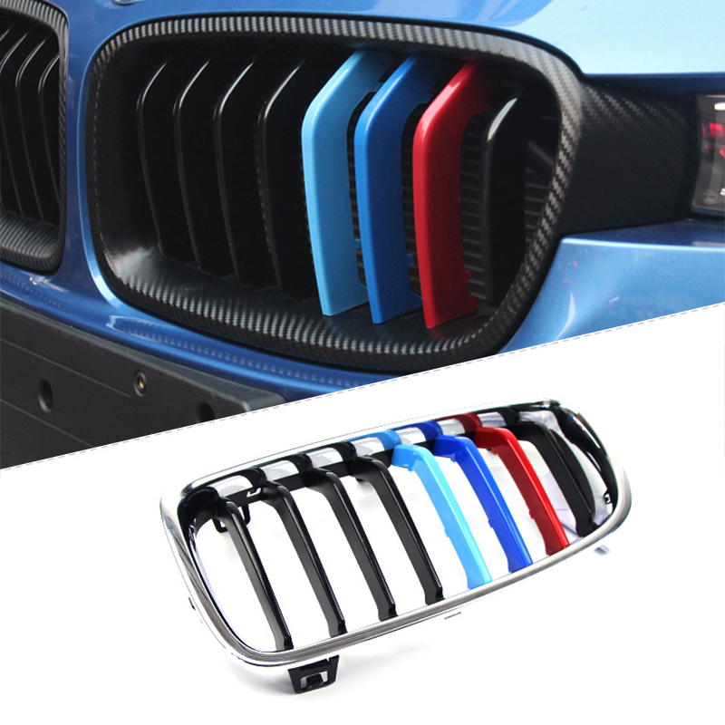 Image 5 - Atreus 3pcs 3D Car Front Grille Trim Strips Cover Motorsport Stickers For BMW F30 F10 3 5 Series M Power Performance Accessories-in Car Stickers from Automobiles & Motorcycles