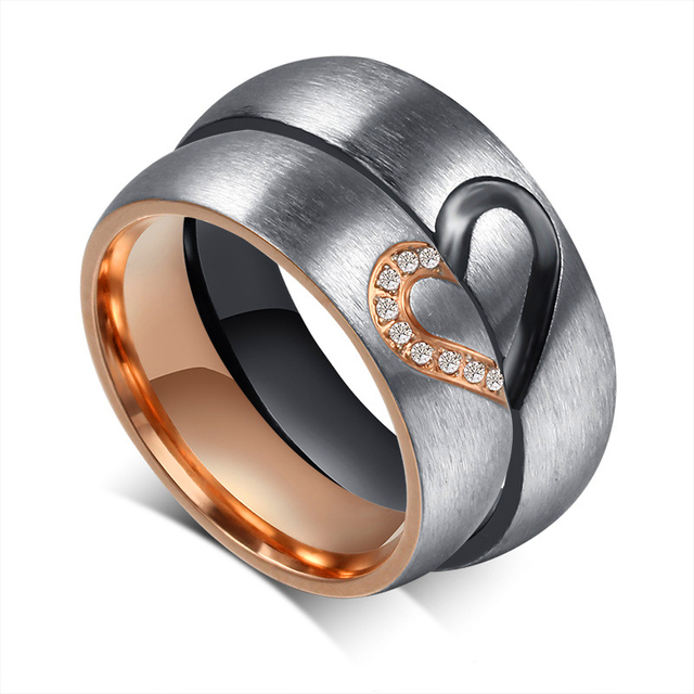 Romantic Love Heart Black Rose Gold Titanium Steel CZ Promise Ring