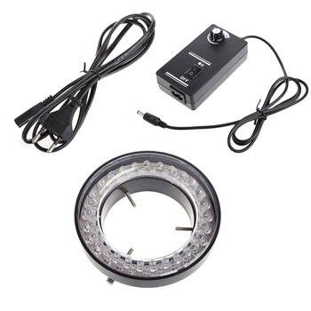 adjustable 6500k 144 led ring light illuminator lamp for industry stereo microscope lens camera magnifier 110v 240v adapter 60 LED Adjustable Ring Light illuminator Lamp for STEREO ZOOM Microscope Microscope EU Plug