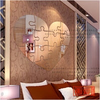 Wall stickers mirror crystal three dimensional room decoration wall sticker romantic gift