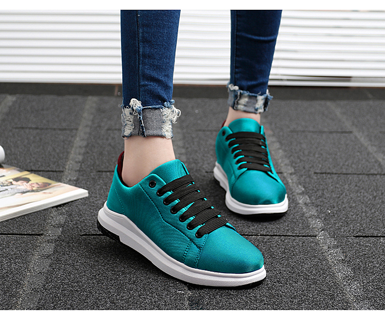 Stretch Fabric Casual Shoes Woman 2017 Fashion Spring Lace Up Ladies Shoes Breathable Women\'s Vulcanize Shoes Superstars ZD68 (20)