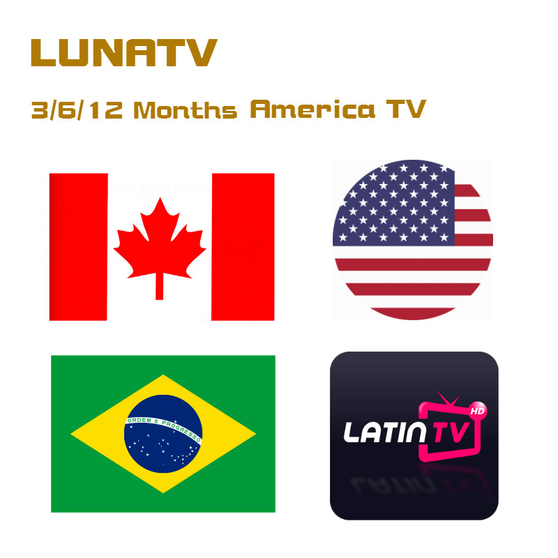 3/6/12 Month LUNATV US Canada brazil Latin IPTV Support m3u Android Box Media Player with 3500+live