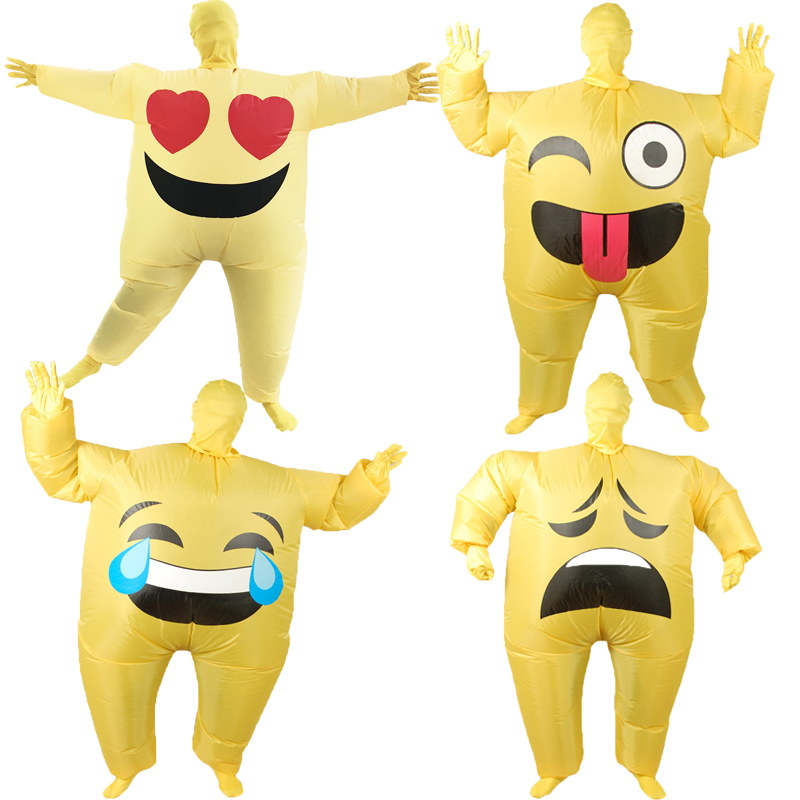 Adult Funny Emoji Inflatable Costumes Emoji Poop Pile Smile Cry Heart Face Cosplay Costumes Halloween Costumes for Women Men